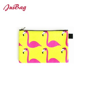 Mini make up bag small pouch-flamingo