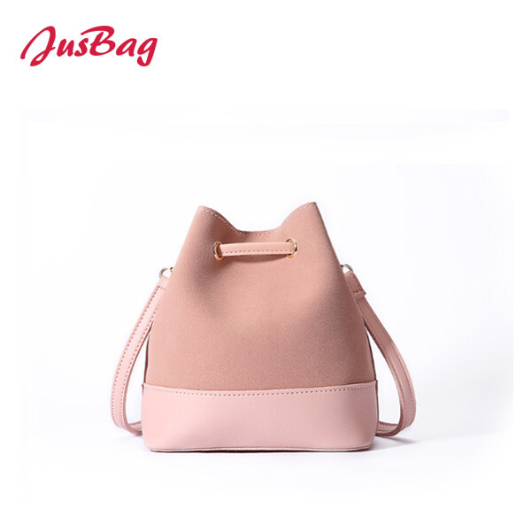 Shoulder bag-PU leather and polyester-pink Featured Image