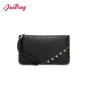 Envelope clutch bag with star rivet-almond