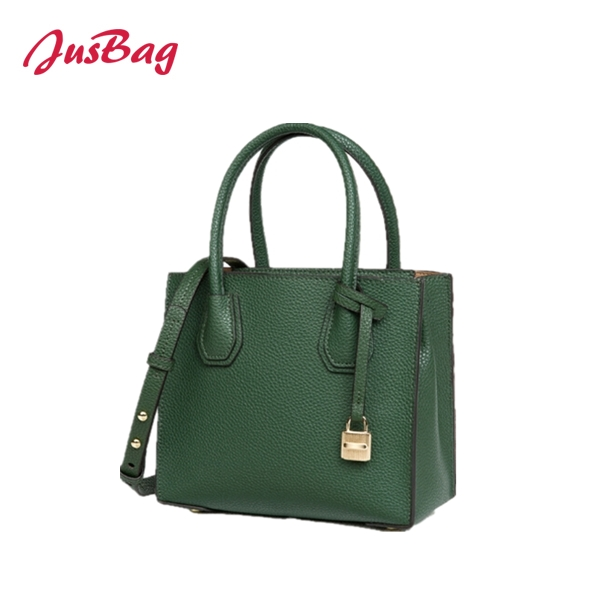 Lady Handbag with golden lock-forest green Featured Image
