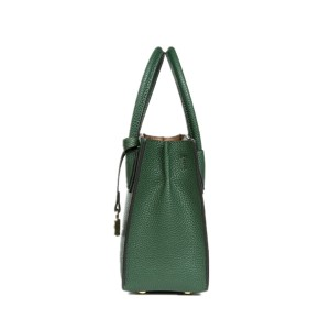 Lady Handbag with golden lock-forest green