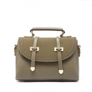 Suede message bag with gold buckle-multi color