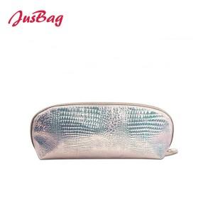 Laser snake grain pu leather make up bag