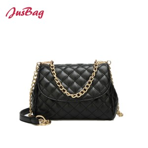 Lady crossbody stitching checks clutch bag-black