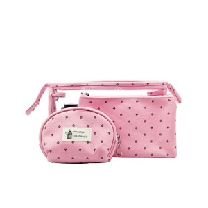 Canvas printed make up bag set with PVC washing bag