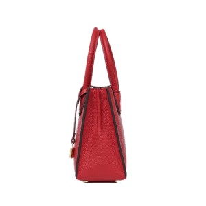 Lady square handbag with lock – red