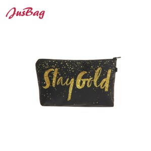 Make up bag pencil pouch-golden glitter
