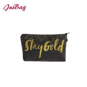 Make up bag pencil pouch-golden glitter