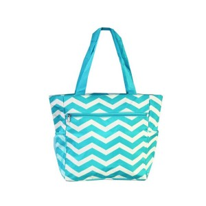 Printed canvas shopping bag-zigzag blue