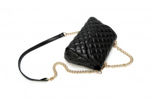 Lady crossbody stitching checks clutch bag-black