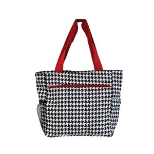 Printed canvas beach bag-checks