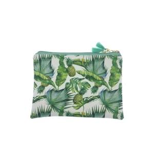 Tropical printing flat make up bag-leaves