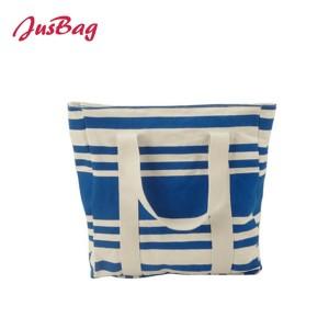 Canvas shopping bag beach bag-dots/stripes