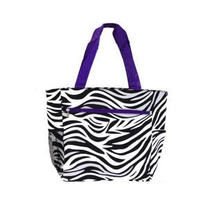 Printed canvas beach bag-zibra