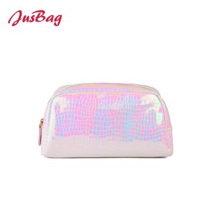 Laser crocodile grain PU leather make up bag