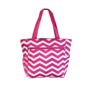 Printed canvas beach bag-zigzag pink