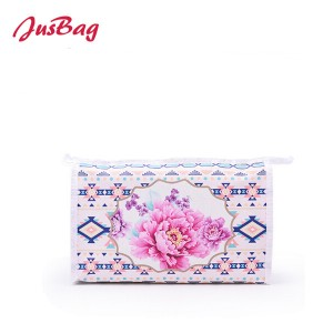 Printed Canvas make up bag-flower