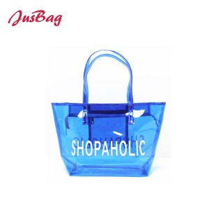 2018 PVC transparent shopping bag-blue