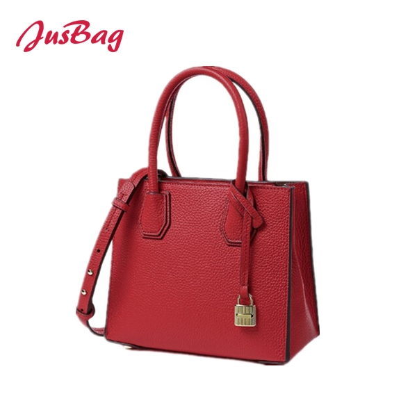 Lady square handbag with lock – red Featured Image