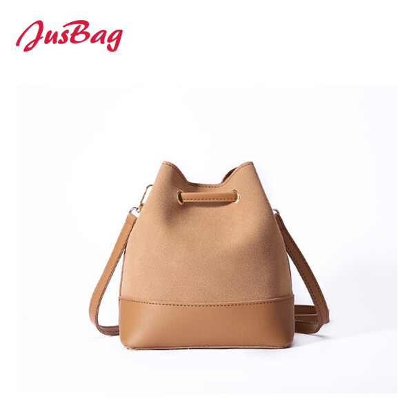 shoulder bag-PU leather and polyester-brown Featured Image