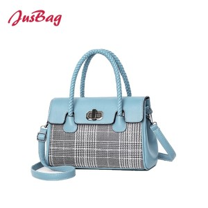 Checks boston bag-light blue