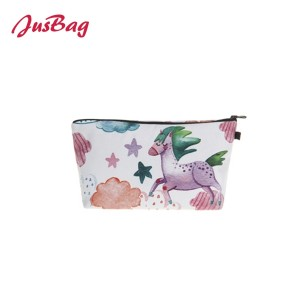 PU leather make up pencil pouch-unicorn