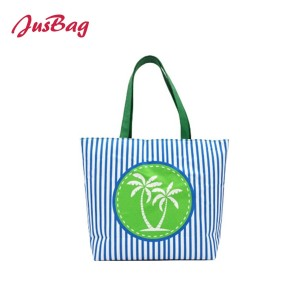 Canvas coconut beach bag shopping bag-striped printing