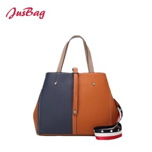 Contrast color hand bag with nylon belt